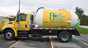 A Picture of a All About Plumbing & Septic Truck