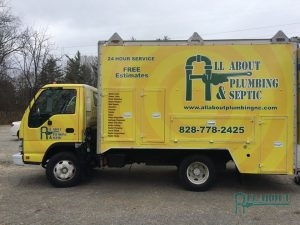 A Picture of an All About Plumbing & Septic Truck